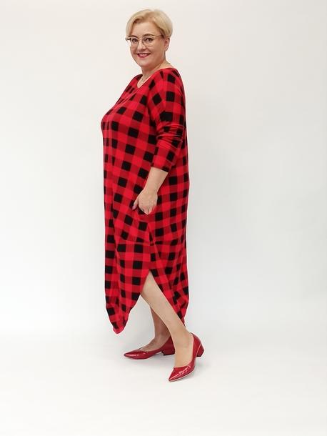 Sukienka jajko krata czerwona