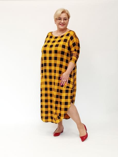 Sukienka jajko krata żółta