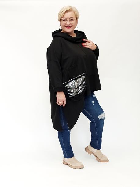 Bluza dresowa cekinowa kieszeń czarna