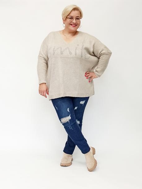 Sweterek smile beżowy