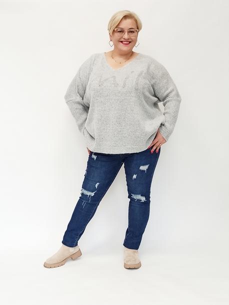 Sweterek smile szary