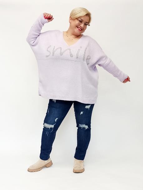 Sweterek smile liliowy
