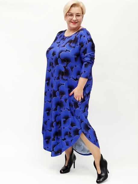 Sukienka długie jajko niebieskie wachlarze