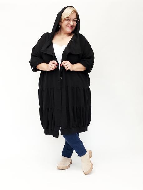 Bluza długa 2 falbanki czarna