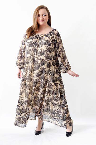 Sukienka długa szyfonowa dmuchawce