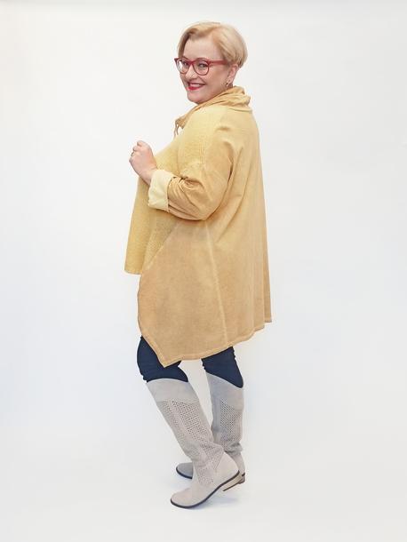 Tunika oversize dekolt wiązany żółta