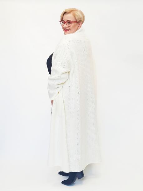 Kardigan wełniany biały