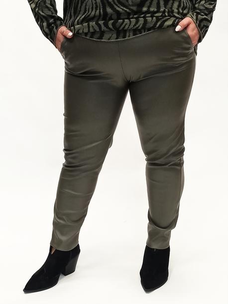 Spodnie eko skóra khaki